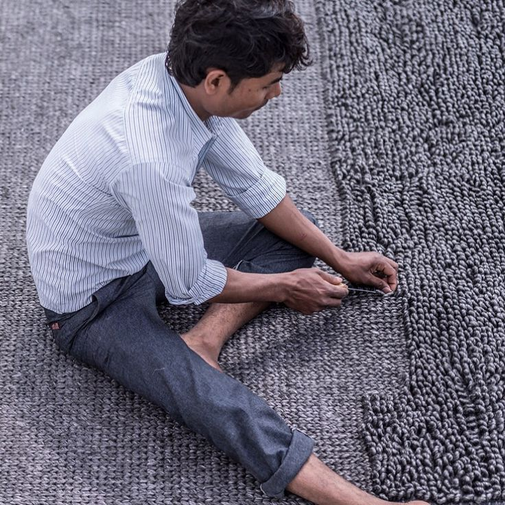 Our incredible artisan weaving the new Sierra Weave in Charcoal by hand in India   armadillo-co.com