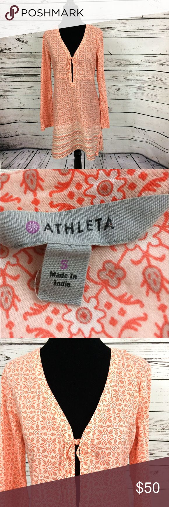 Athleta beach dress size small Athleta orange and grey beach dress with stretch. Tie front super cute over  your suit or just as a casual outfit. Size small Athleta Dresses
