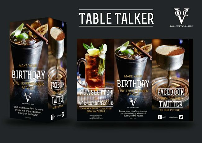 Voc Table Talker Graphic Design Table Tents Table Drinks