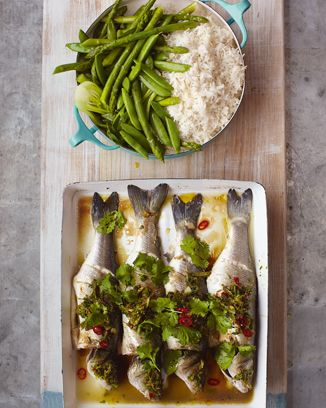 asian sea bass, sticky rice & dressed greens | Jamie Oliver | Food | Recipes (UK)