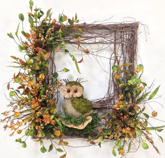 Owl Wreath, Square Wreath, Twig Wreath, Owl Floral Décor, Summer Wreath, Rustic Wreath, Owl, Burlap, Woodland Wreath