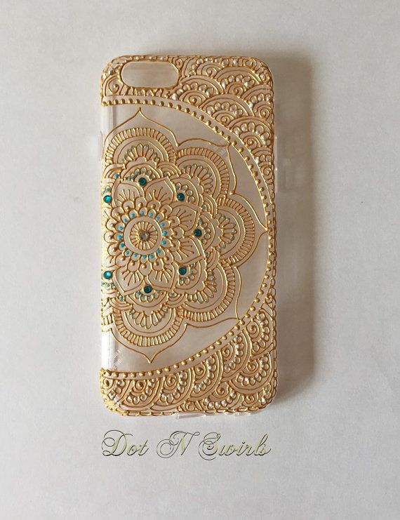 I phone 7 /7plus case designed with henna lotus by dotnswirls