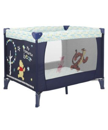 Nursery Furniture. Disney Winnie the Pooh Travel Cot - Navy. Quick and easy to assemble, with a central locking frame.  #NurseryFurniture #WinnieThePooh #TravelCot