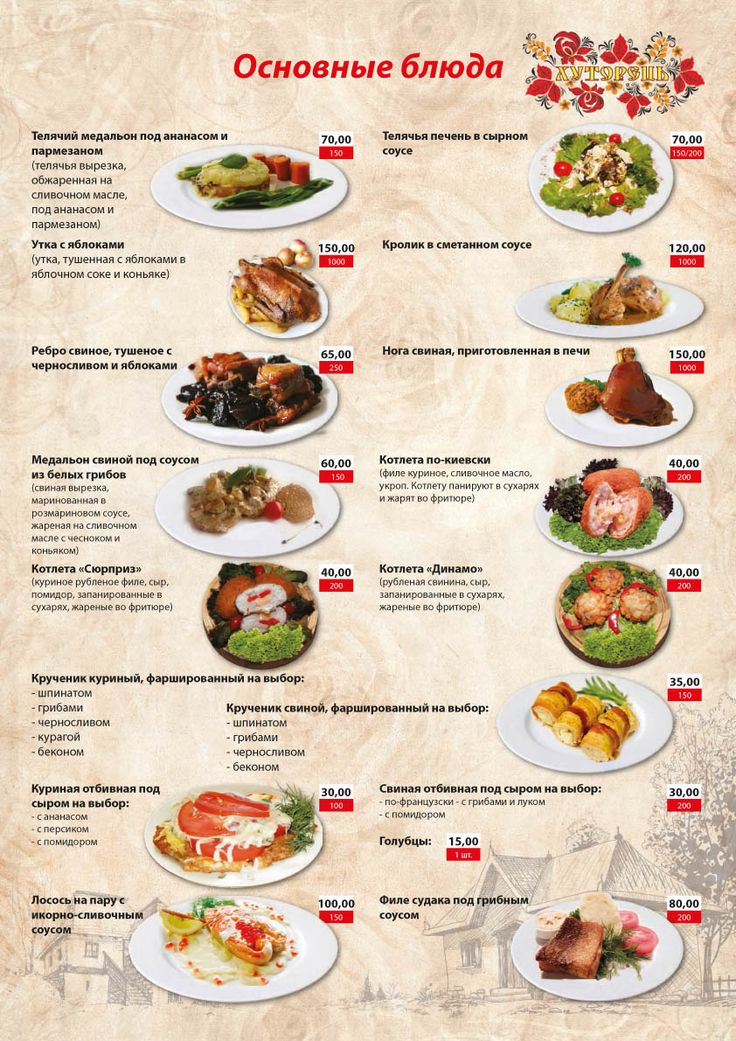 Банкетноне меню, основные блюда, заказать банкет, Киев
