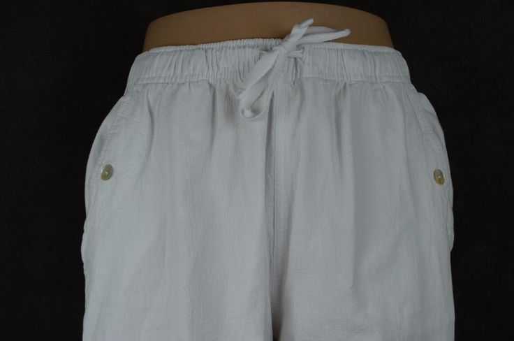 Palm Grove Petite PL white cotton drawstring elastic capri pants FREE SHIPPING #PalmGrovePetite #CaprisCropped