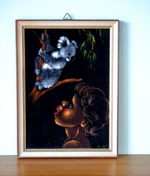 Vintage black velvet aboriginal painting