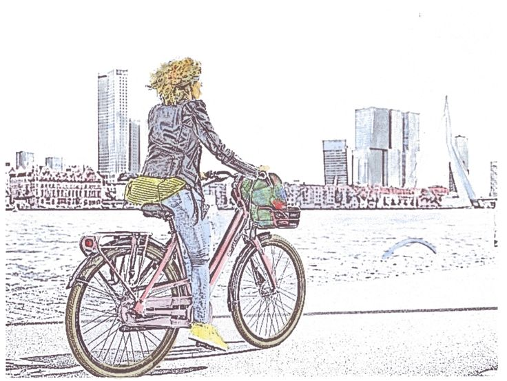 Vrouw op fiets, foto/waterverf (met afbeeldingen