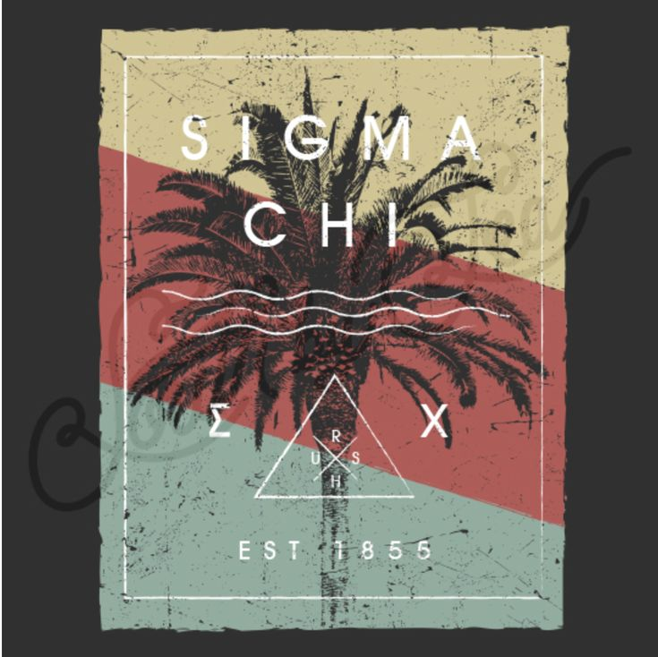 Sigma Chi | Fall Rush | Tropical Design | Palm Tree | Vintage T-Shirt Design…