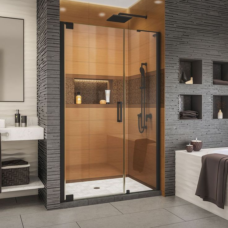 Elegance Ls 41 1 4 43 1 4 Inch W X 72 Inch H Frameless Pivot Shower Door In Satin Black With Images Shower Doors Black Shower Doors Dreamline