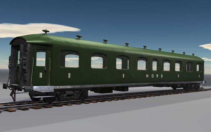Le wagon voyageurs, modélisé à partir de plans originaux. Cette image représente l'objet en cours de construction.