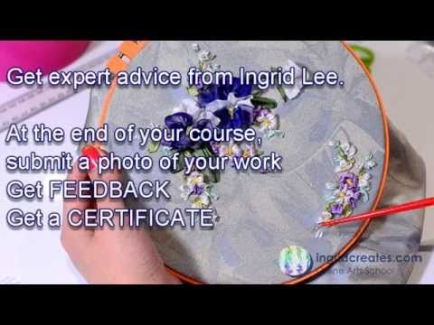 Online Pansy and Blossom Embroidery class | Ingrid Creates Online Arts School- self paced learning, register today!
