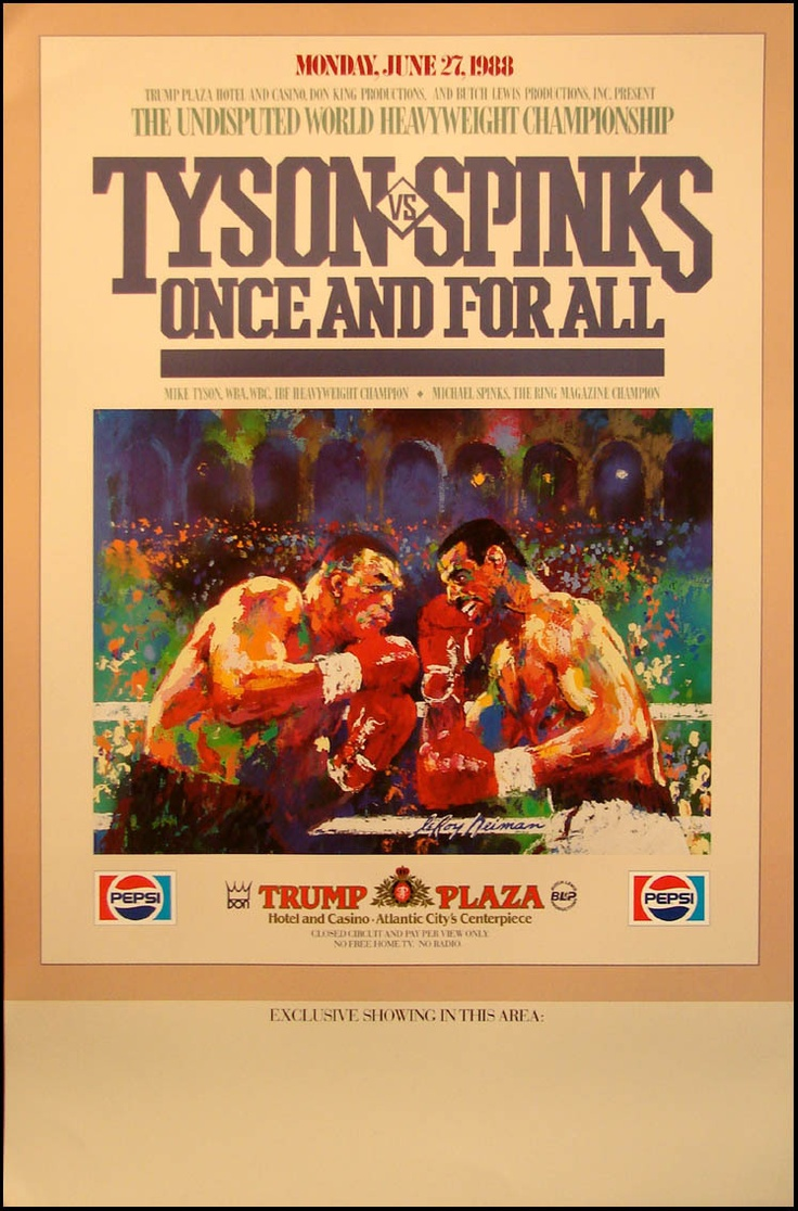 Mike Tyson vs Michael Spinks On Site Fight poster by LeRoy Neiman from Monday June 27, 1988 in Atlantic City
