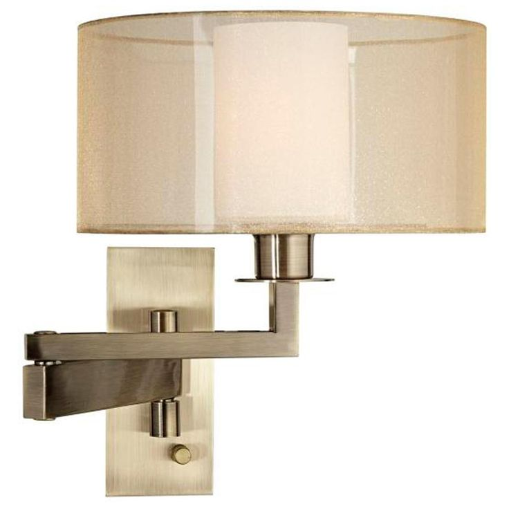 sheer shade swing arm wall sconce soft style with the clean lines of a gold