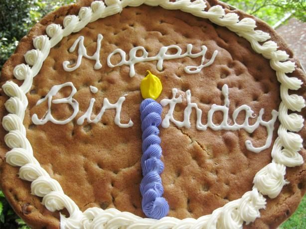 """Birthday Cookie: """"Just like the professional cookie cakes. This is not a knock-your-socks-off chocolate chip cookie, but a great cookie that holds up well to being baked on a pizza pan and cut into large slices."""" -Cuistot"""