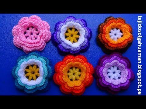 flor tejida a crochet #1para adornar gorros y el cabello. - YouTube
