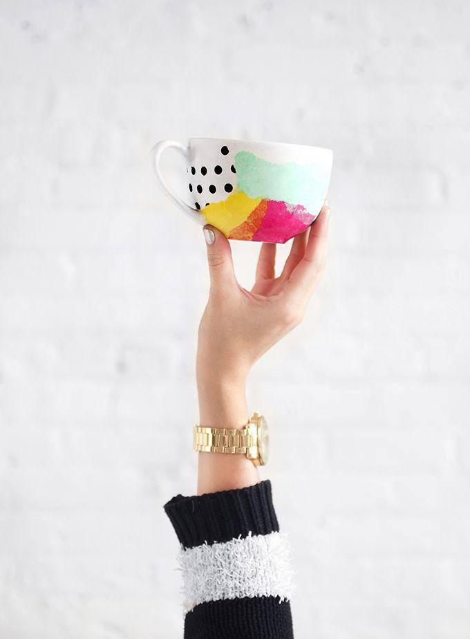 MY DIY | Tissue Paper Watercolor Mug | I SPY DIY