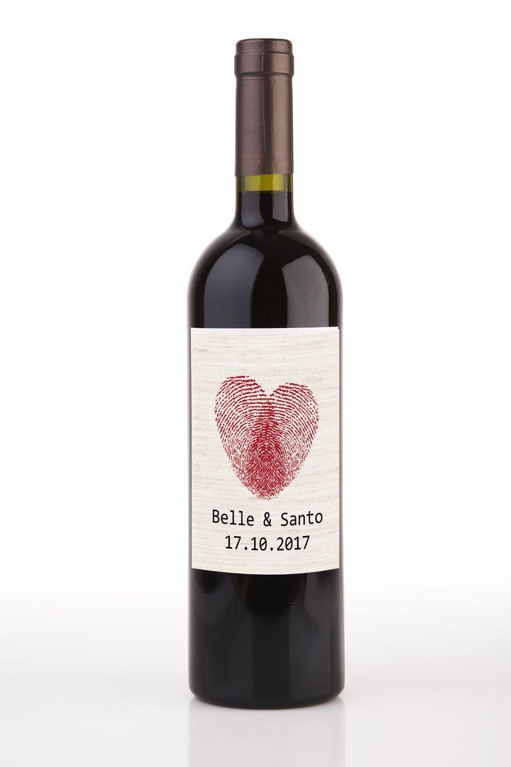 Heart Fingerprints Wedding Personalised Wine Bottle Labels (Set of 8)