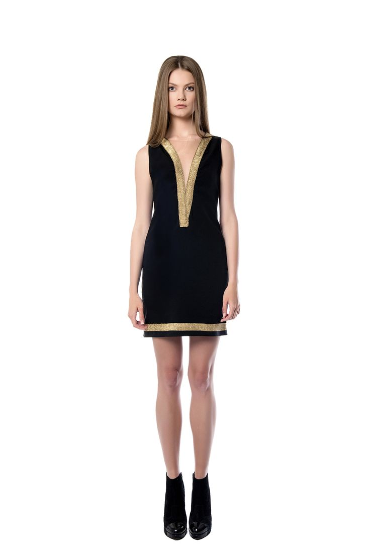 Little black dress with golden elements  A bold mini – length dress is perfect for your summer night outs. The form fitting strapless piece has designed to flatter the curvy silhouette, while emphasizing the side part of your body. Crafted from black crepe.