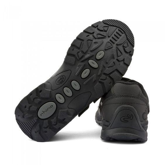 Miles, Black Leather Boys Riptape School Shoes - School Shoes - Boys Shoes