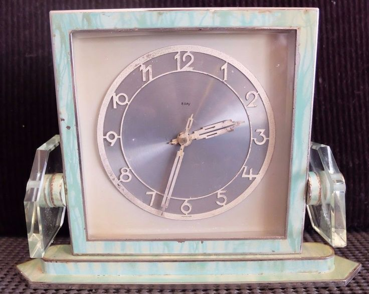 Art Deco Marbleised Mantle Clock 1930s/1940s Glass & chrome construction 8 DAY #unbranded