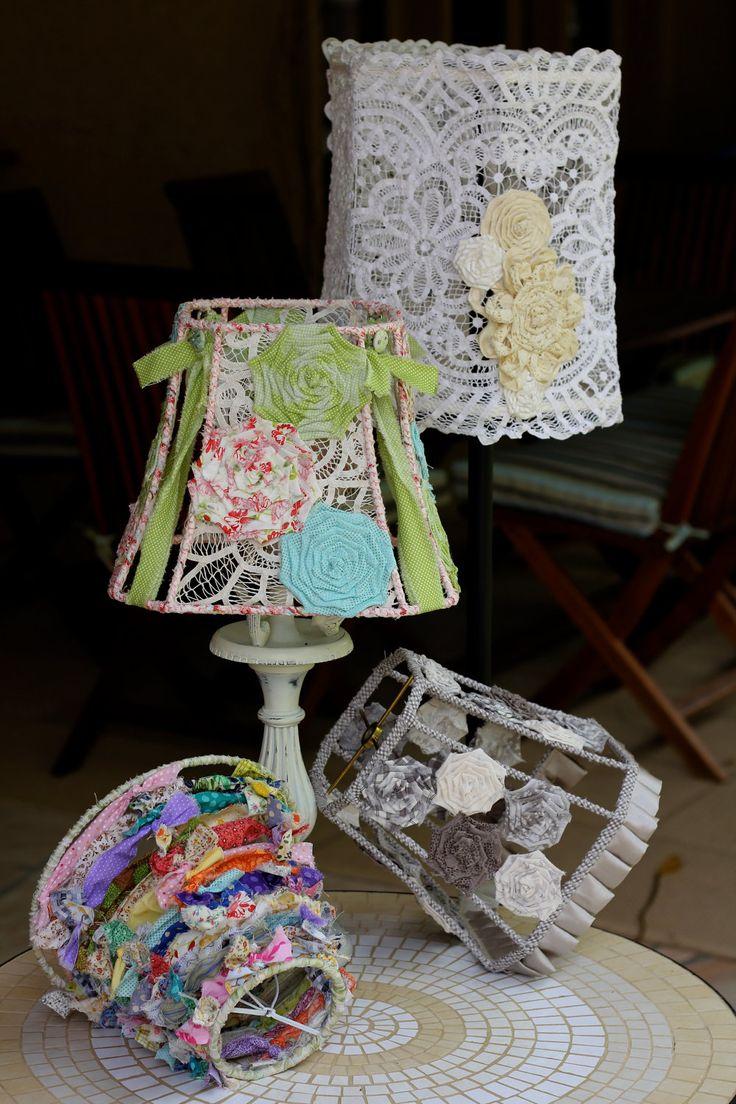 Handmade Fabric Strip Shabby Chic Round Lampshade