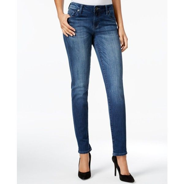 Kut from the Kloth Petite Diana Moderation Wash Skinny Jeans ($89) ❤ liked on Polyvore featuring jeans, moderation, skinny fit jeans, cut skinny jeans, petite white jeans, stretch denim jeans and petite skinny jeans