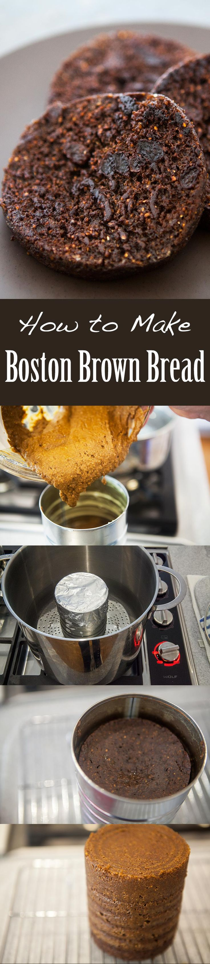 Boston Brown Bread ~ Classic Boston brown bread studded with raisins and steamed in a coffee can. ~ SimplyRecipes.com