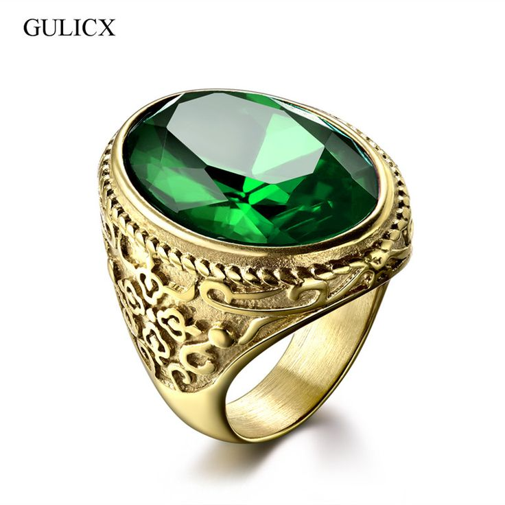 GULICX New Arrival Gold Plated Band Stainless Steel Ring for Men Punk Red/Green/Blue Princess Cut Crystal Jewelry BR172