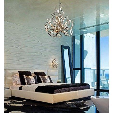 Luminaire suspendu chrome et feuille d'argent, idéal pour salle a manger, chambre, escalier et entrée.