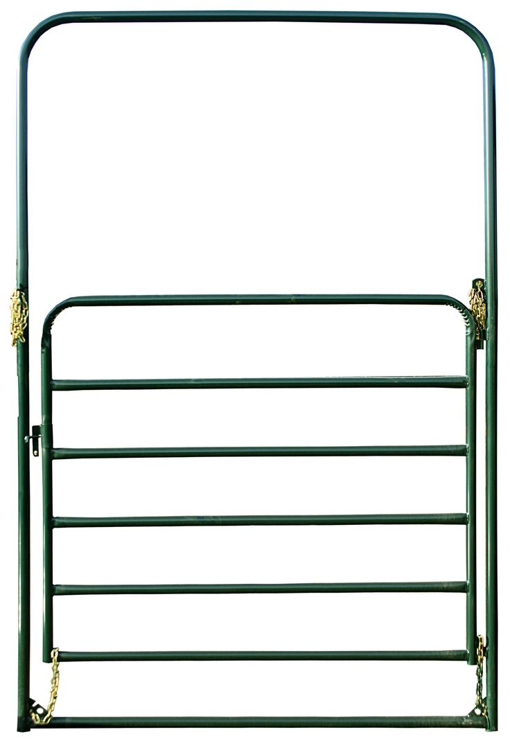 "Commonly used as the gate for round pens, arenas, and paddocks, this 6' wide Economy Bow gate offers 9' of clearance, making it a great ""ride thru"" gate option."