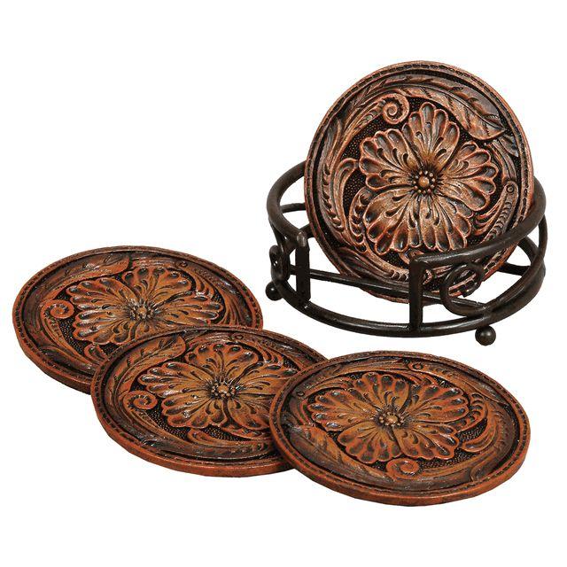 Tooled Floral Leather Coaster Set (5 pcs)