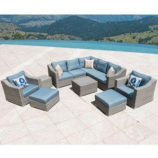 From Overstock.com · Shop For Corvus Martinka Outdoor 11 Piece Grey Wicker  Sectional Sofa Set. Get Free