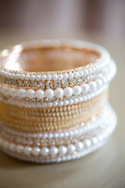 gold and white pearl bangles| Suhaifa & Jacques' Darling Modern Nikah & Reception {Cape Town, South Africa} - Gallery - TheBigFatIndianWedding.com