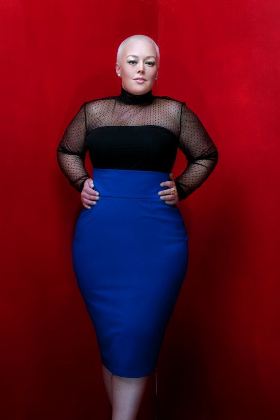 Love the high waist and color of that skirt!    JIBRI Plus Size High Waist Pencil Skirt Royal Blue by jibrionline, $110.00