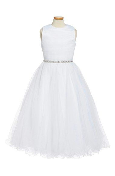 Joan Calabrese for Mon Cheri Sleeveless Ruched Bodice First Communion Dress (Little Girls & Big Girls) available at #Nordstrom