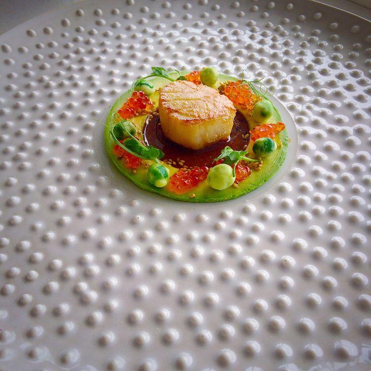 Scallop from Lofoten • Avocado • Trout Roe • Wasabi Soy • Yuzu Sesame Seeds • Wasabi Nuts