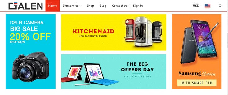 Galen Electronics Store Theme for Odoo v8 Ecommerce