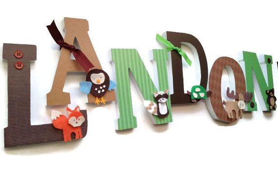Wooden Nursery Wall Letters - Kids Rooms,6 Inch Letters,  Woodland Creatures Theme on Etsy, $12.50