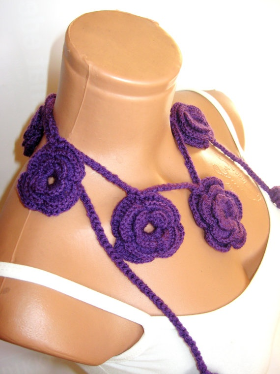 Purple Roses Lariat Scarf Fashion Flower by WomanStyleStore, $16.00