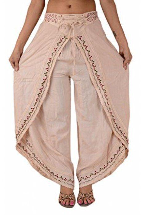 Skirts N Scarves Women's Rayon Embroidered Aladdin Pant/Pajama (Cream)