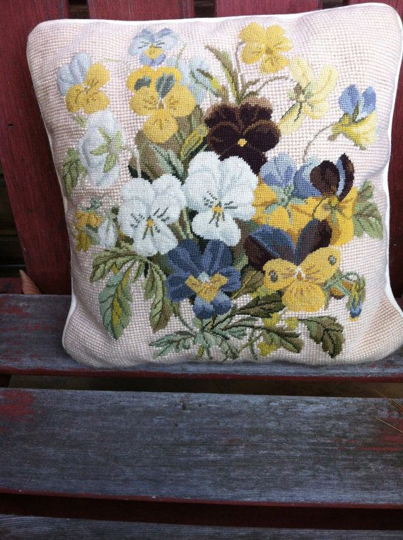 vintage  handmade needlepoint  pillow vintage 12 by stockintrade