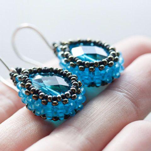 Water blue beaded bead earrings, faceted blue glass drop in beadwoven bezel