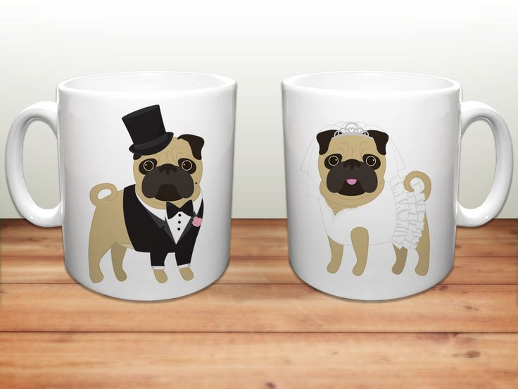 Pug Coffee Mugs - Wedding Pugs Ceramic Mugs - Pug Lover Wedding Gift - Pug Mugs…