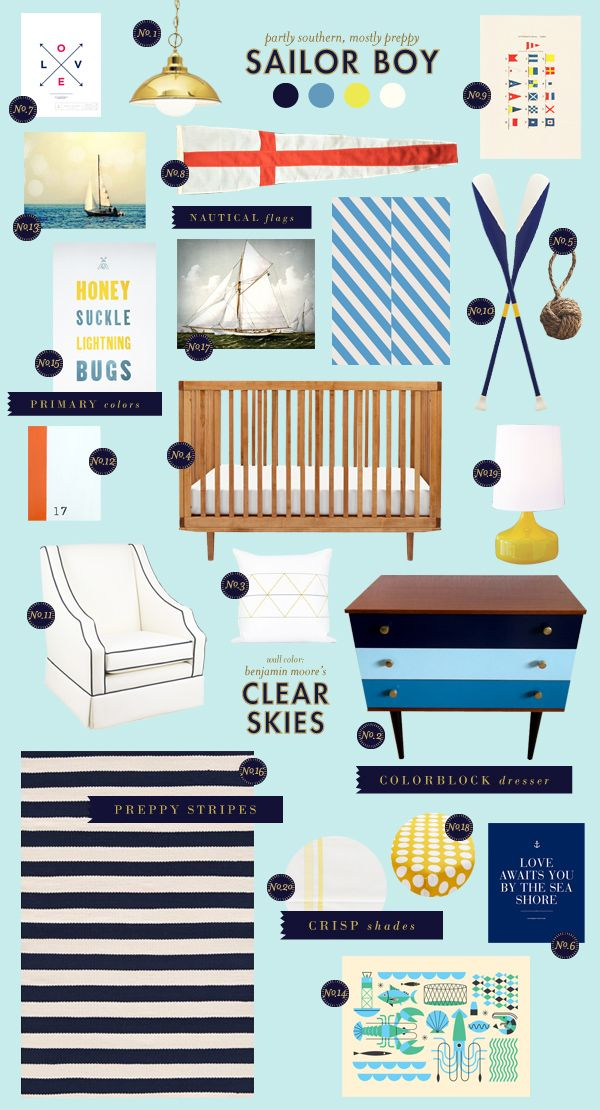 sailor-boy baby nursery inspiration style board-LBL; one of the nautical-themed Avett Bros posters I found would work perfectly in this room