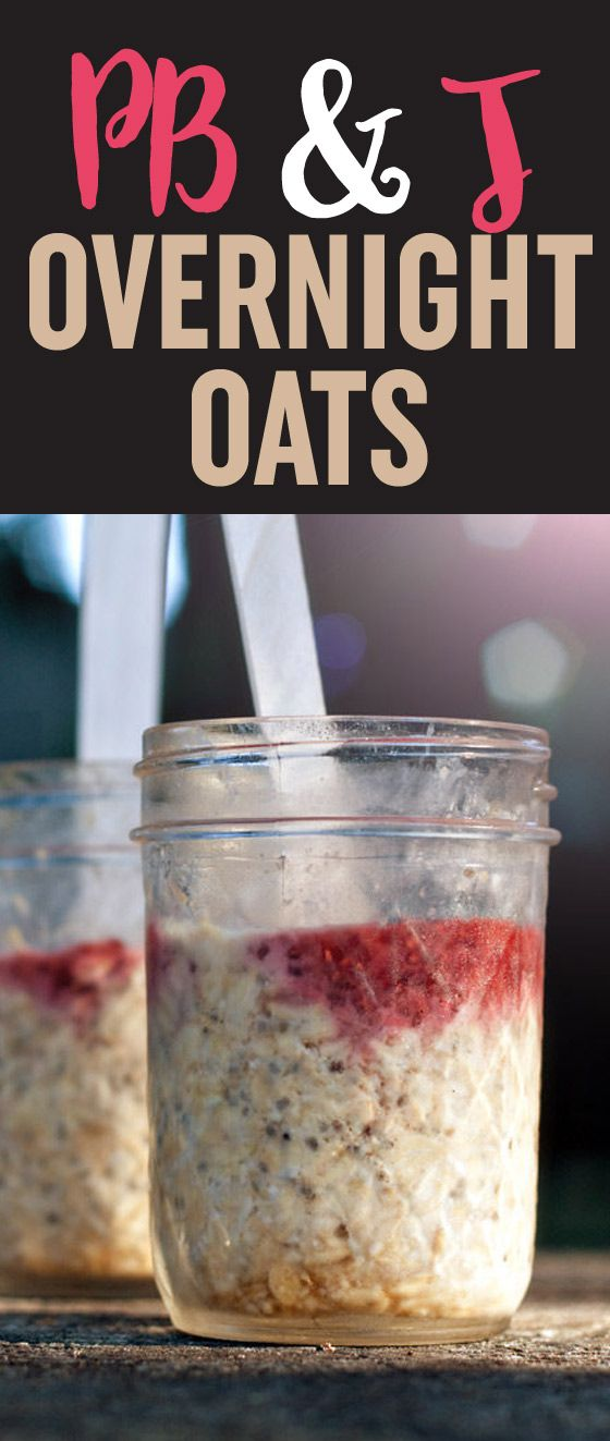 PB&J Overnight Oats - Stir up a few simple ingredients the night before and breakfast is waiting the next day! This version of overnight oats amps up the protein (and deliciousness) with a dollop of peanut butter. So handy to have a few jars of these waiting in the fridge - or, when we're camping, the ice chest!