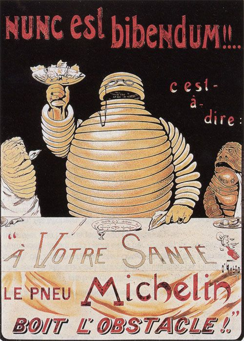 """At the Lyon Universal Exhibition in 1894, the Michelin brothers noticed an evocatively-shaped pile of tyres on their stand. Édouard said to André, """"Look, with arms it would make a man."""" André Michelin would remember this moment a few years later."""