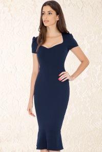 Vintage Chic 50s Demure Blue Dress 100 40 14438 2