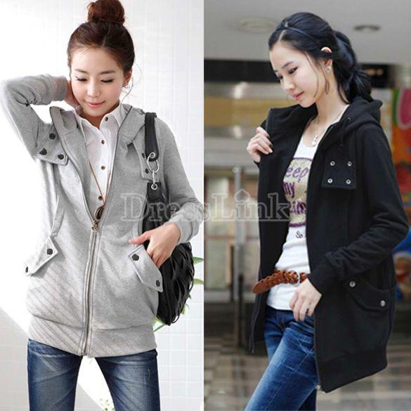 New Korea Women's Zip Up Long Top Hoodie Coat Jacket Many Buttons Sweatshirt Outerwear Fleece