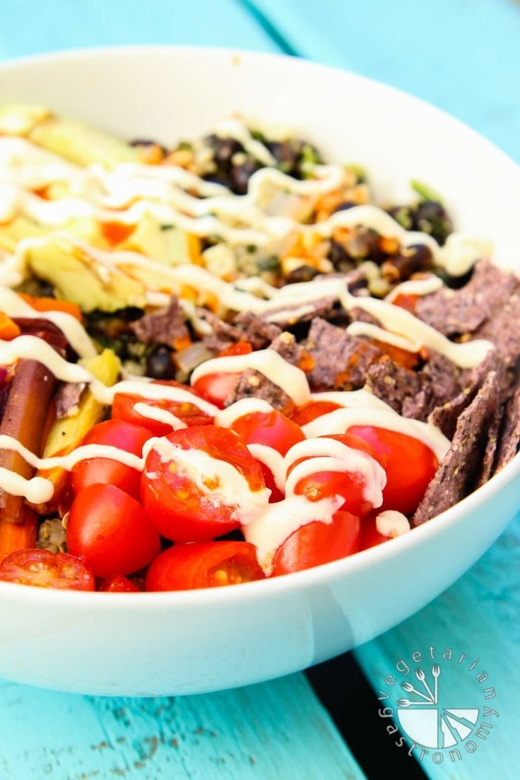 This vegan gluten-free Roasted Veggie Quinoa Mexican Bowl recipe is the perfect throw-together complete easy meal! | www.vegetariangastronomy.com | #vegan #glutenfree