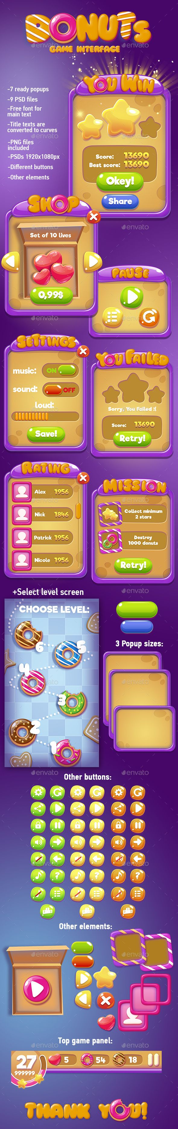 Violet Game UI Template PSD, Transparent PNG. Download here…